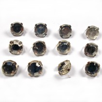 Clip on Clear Crystal Effect Diamante Studs 7mm Pack of 12