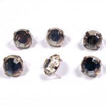 Clip on Clear Crystal Effect Diamante Studs 5mm Pack of 6