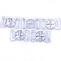 Clover Bikini Clasp Fastener Clear Transparent 27mm x 14mm Pack of 5