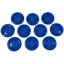 Large Round Clown Buttons 4 Hole 50mm Blue Pack of 10