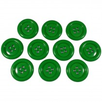Large Round Clown Buttons 4 Hole 50mm Green Pack of 10