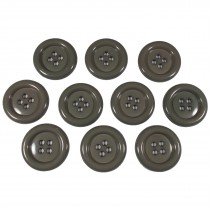 Large Round Clown Buttons 4 Hole 38mm Grey Pack of 10