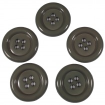 Large Round Clown Buttons 4 Hole 38mm Grey Pack of 5