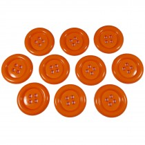 Large Round Clown Buttons 4 Hole 50mm Orange Pack of 10