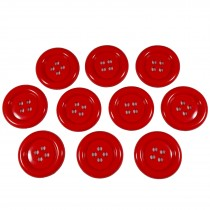 Large Round Clown Buttons 4 Hole 50mm Red Pack of 10