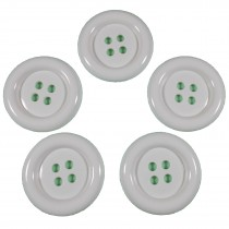 Large Round Clown Buttons 4 Hole 50mm White Pack of 5