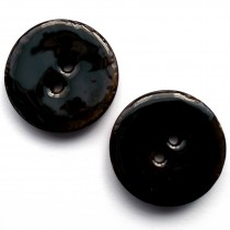 Coconut Shell Buttons Round 2 Hole Colour Enamel 40mm Black Pack of 2