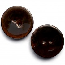 Coconut Shell Buttons Round 2 Hole Colour Enamel 40mm Brown Pack of 2