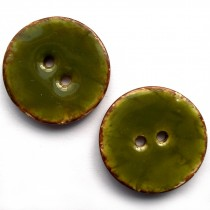 Coconut Shell Buttons Round 2 Hole Colour Enamel 30mm Green Pack of 2