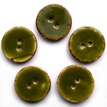 Coconut Shell Buttons Round 2 Hole Colour Enamel 22mm Green Pack of 5