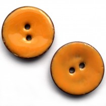 Coconut Shell Buttons Round 2 Hole Colour Enamel 22mm Pale Orange Pack of 2