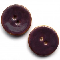 Coconut Shell Buttons Round 2 Hole Colour Enamel 40mm Purple Pack of 2