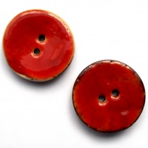 Coconut Shell Buttons Round 2 Hole Colour Enamel 30mm Red Pack of 2