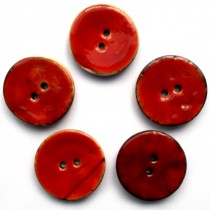 Coconut Shell Buttons Round 2 Hole Colour Enamel 30mm Red Pack of 5