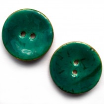 Coconut Shell Buttons Round 2 Hole Colour Enamel 40mm Turquoise Pack of 2