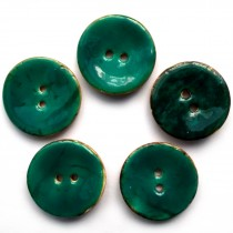 Coconut Shell Buttons Round 2 Hole Colour Enamel 30mm Turquoise Pack of 5