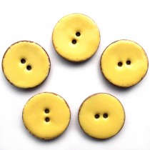Coconut Shell Buttons Round 2 Hole Colour Enamel 30mm Yellow Pack of 5