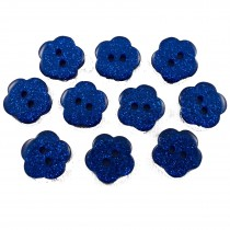 Colour Glitter Flower Shape Buttons 14mm Blue Pack of 10