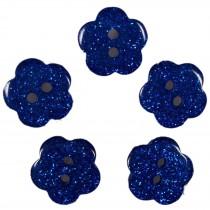 Colour Glitter Flower Shape Buttons 14mm Blue Pack of 5