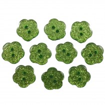 Colour Glitter Flower Shape Buttons 9mm Green Pack of 10