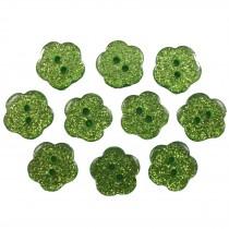 Colour Glitter Flower Shape Buttons 14mm Green Pack of 10