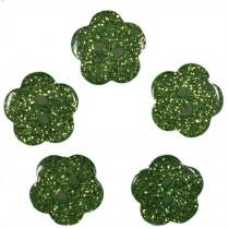 Colour Glitter Flower Shape Buttons 14mm Green Pack of 5