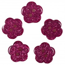Colour Glitter Flower Shape Buttons 16mm Pink Pack of 5