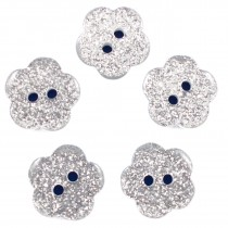 Colour Glitter Flower Shape Buttons 14mm Silver Pack of 5