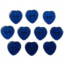 Colour Glitter Heart Shape Buttons 14mm Blue Pack of 10