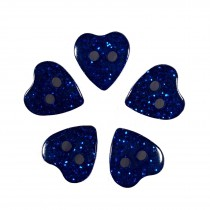 Colour Glitter Heart Shape Buttons 14mm Blue Pack of 5