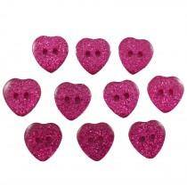 Colour Glitter Heart Shape Buttons 9mm Pink Pack of 10