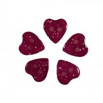 Colour Glitter Heart Shape Buttons 9mm Pink Pack of 5