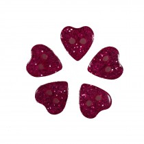 Colour Glitter Heart Shape Buttons 10mm Pink Pack of 5