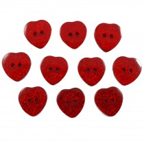 Colour Glitter Heart Shape Buttons 14mm Red Pack of 10