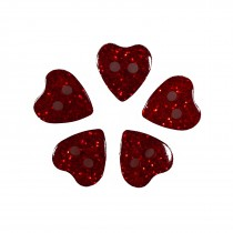 Colour Glitter Heart Shape Buttons 14mm Red Pack of 5
