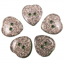 Colour Glitter Heart Shape Buttons 15mm Silver Pack of 5