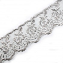 Colour Lace 45mm Wide Silver Grey 2 metre length
