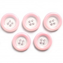 Colour Rim Clear Centre 4 Hole Buttons 18mm Pale Pink Pack of 5
