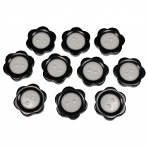 Colour Rim Daisy Flower Plastic Buttons 11mm Black Pack of 10
