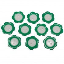 Colour Rim Daisy Flower Plastic Buttons 11mm Green Pack of 10