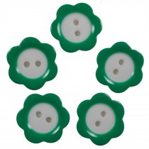 Colour Rim Daisy Flower Plastic Buttons 14mm Green Pack of 5