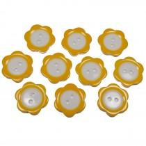 Colour Rim Daisy Flower Plastic Buttons 14mm Orange Pack of 10