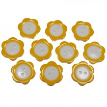 Colour Rim Daisy Flower Plastic Buttons 17mm Orange Pack of 10