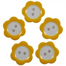 Colour Rim Daisy Flower Plastic Buttons 14mm Orange Pack of 5