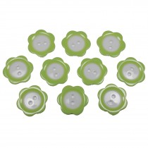 Colour Rim Daisy Flower Plastic Buttons 11mm Pale Green Pack of 10