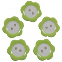Colour Rim Daisy Flower Plastic Buttons 11mm Pale Green Pack of 5