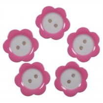 Colour Rim Daisy Flower Plastic Buttons 14mm Pale Pink Pack of 5