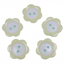 Colour Rim Daisy Flower Plastic Buttons 11mm Pale Yellow Pack of 5