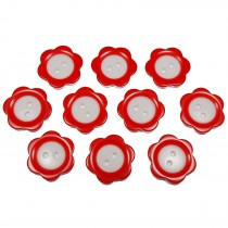 Colour Rim Daisy Flower Plastic Buttons 11mm Red Pack of 10