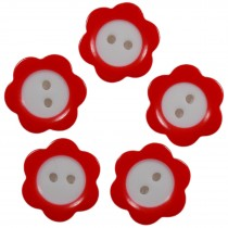 Colour Rim Daisy Flower Plastic Buttons 20mm Red Pack of 5